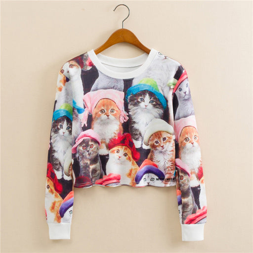 Anime Cat Family Graphic Aesthetic Cropped Sweatshirt