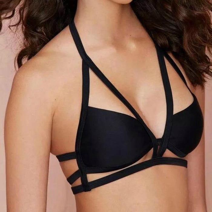 Sexy Nighties - Deep V sexy gather back cross black lingerie