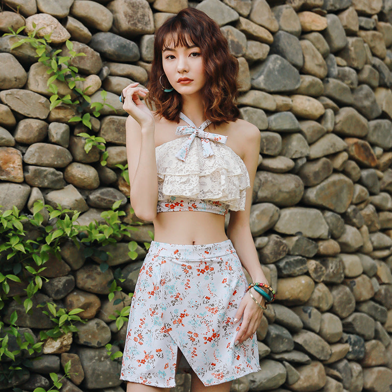 Halter Neck Dot Floral Sunny Holiday Cute Sweet Swimsuit Set