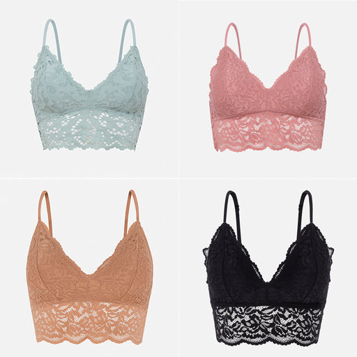 Wearing Like No Wearing Triangle Lace Floral Comfy Sweet Bralette