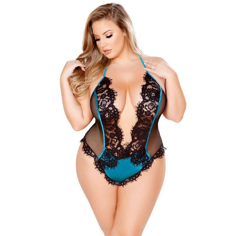 Plus Size Sexy lace mesh perspective halter one-piece sexy lingerie