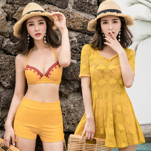Cover Up Sunny Holiday Cute Sweet High Waisted 3pcs Swimsuit Set