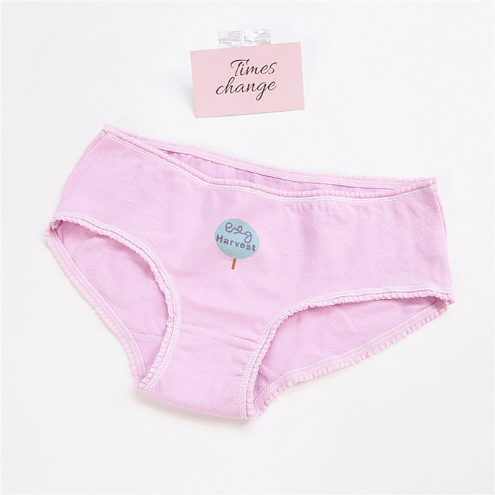Girly Sweetie Cartoon Printed Candy Color Cotton Panty