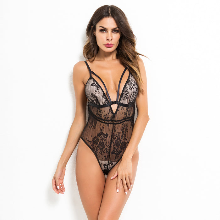 V-neck lace cutout slimming and sexy one-piece underwear