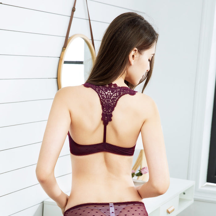 Love Maroon Sheer Lace Bra & Panty Set
