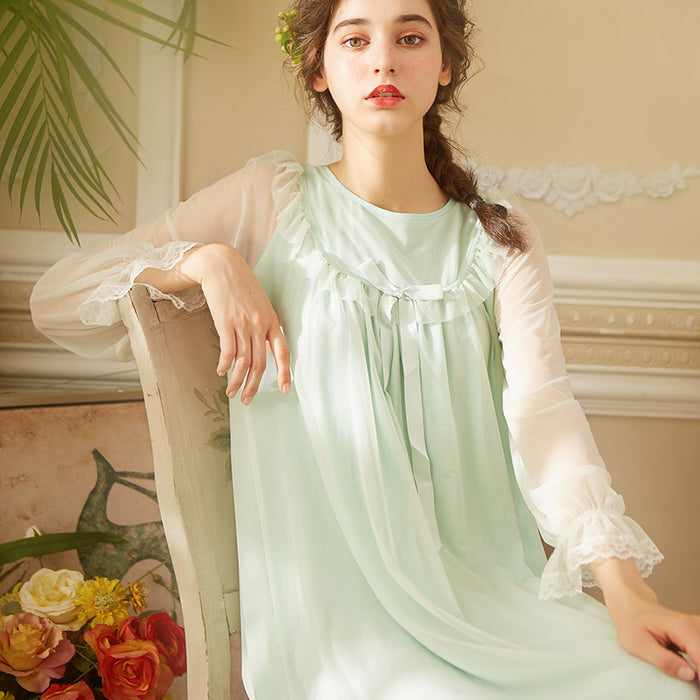 Victorian Era - Mesh Thin Sweet Princess Style Night Gown