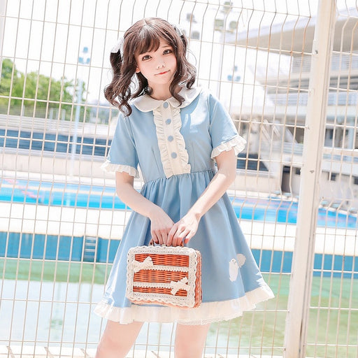 Lolita Sky Blue Collar Baby Doll Dress