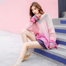 Pastel Kawaii Aesthetic Pink Rainbow Sweater