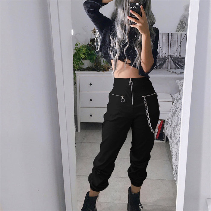 Gothic style leggings pants women street wild cool zipper pants chain slim trousers