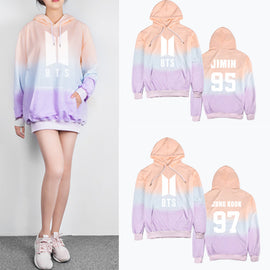 BTS K-pop SUGA/JIN/J-HOPE/JIMIN/  Pastel Aesthetic Cartoon Rainbow Hoodie