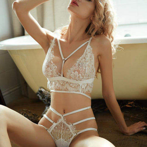 Sexy Lace Sheer Flower White Nighties Set