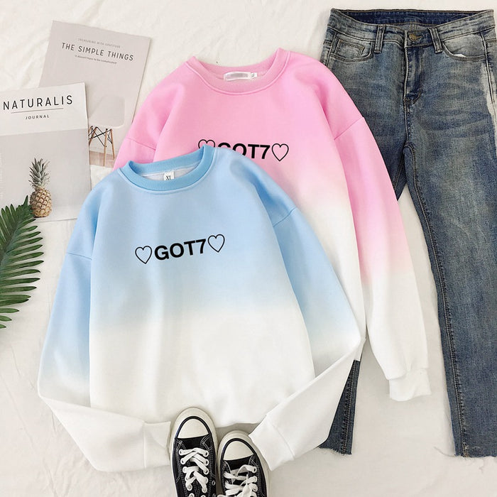BTS K-pop GOT7 Pastel Aesthetic You Need Pink Rainbow Mockneck Hoodie