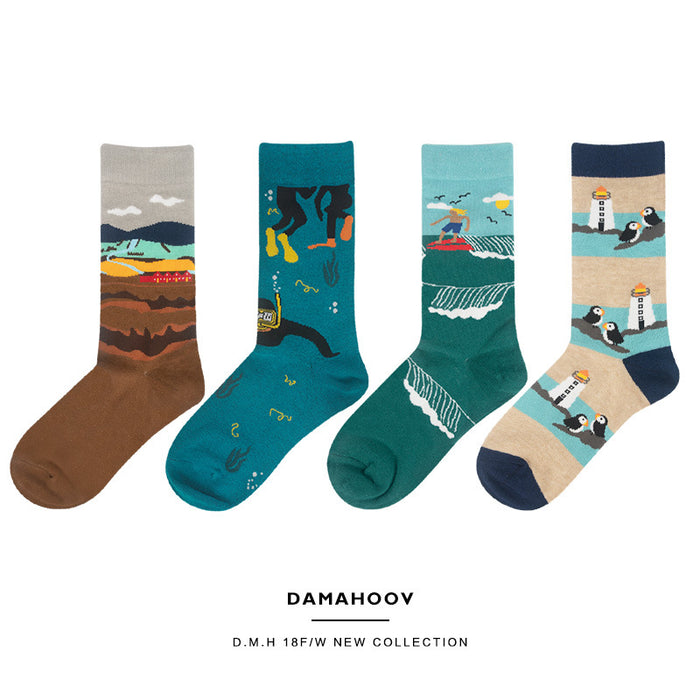Landscape Cartoon Peachy Kawaii Japanese Pastel Graphic Socks