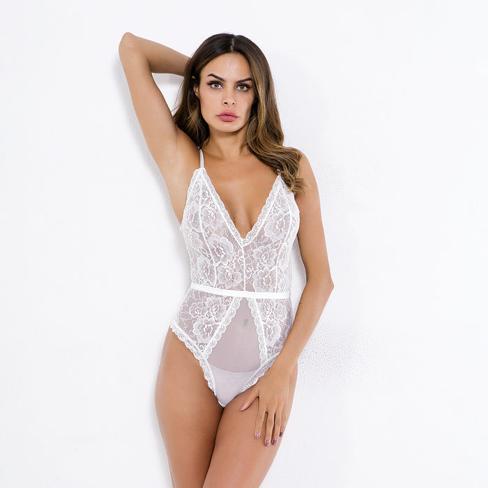 Sexy lace mesh sexy lingerie bodysuit