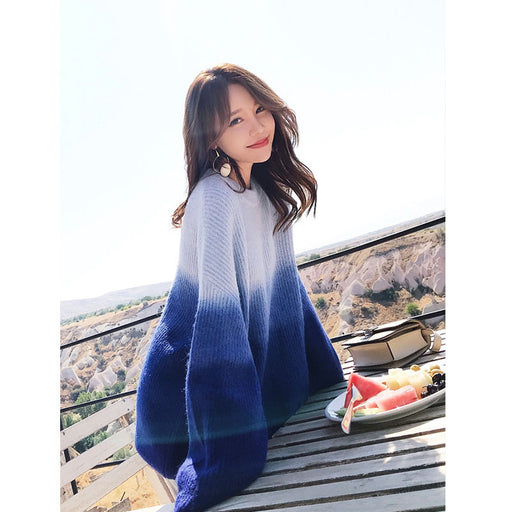 Kawaii Korean Aesthetic Style Landscape Gradient Pink Elegant Warm Sweater