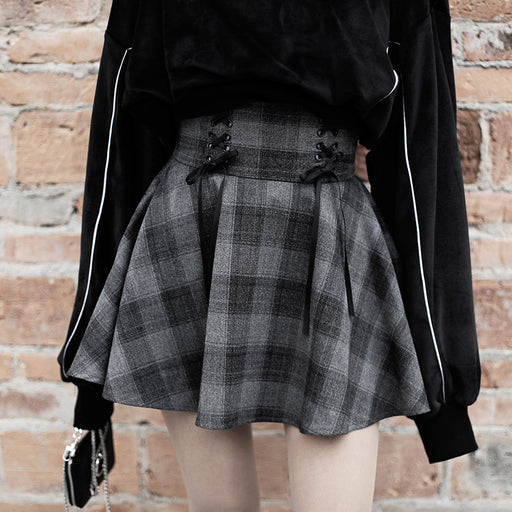 Dark gray plaid high-waist lace-up skirt