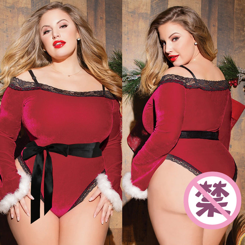 Plus Size Sexy Christmas word shoulder long sleeve jumpsuit plus size sexy lingerie