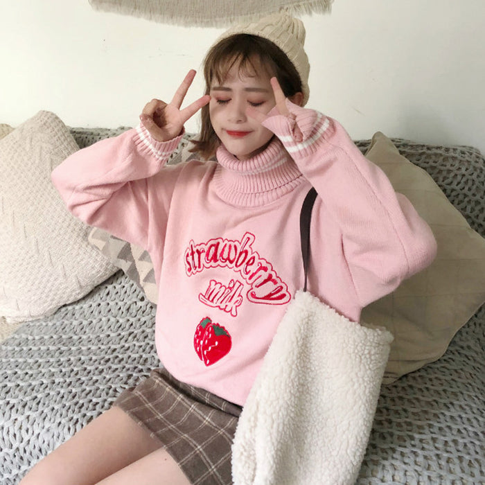 Strawberry Fruity Pastel Kawaii Aesthetic Pink Mockneck Sweater