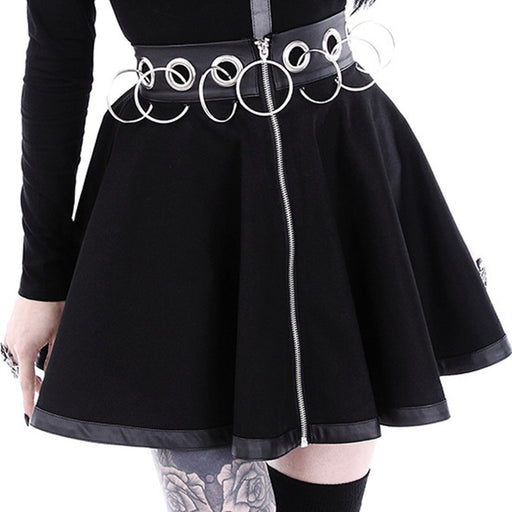 Dark style personalized hoop hollow stitching zipper skirt