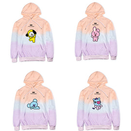 BTS K-pop GOT7 Pastel Aesthetic Cartoon Rainbow Mockneck Hoodie Sweatshirt