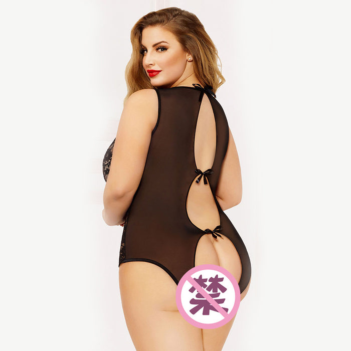 Plus Size Sexy mesh perspective bowknot backless lingerie