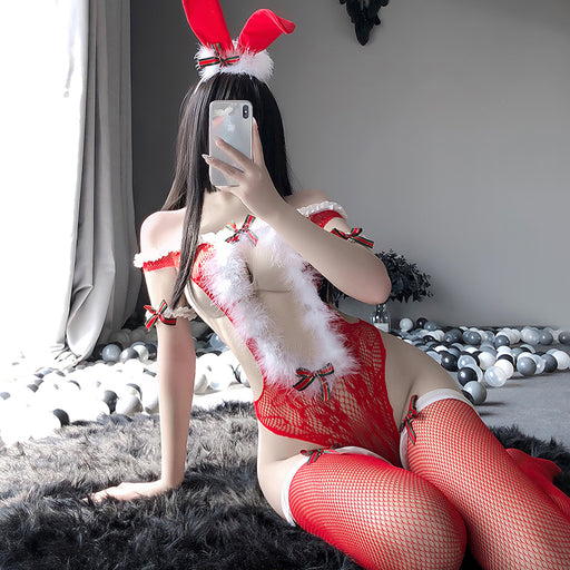 Sofyee Sexy One-Shoulder Christmas One-Piece Bunny Uniform