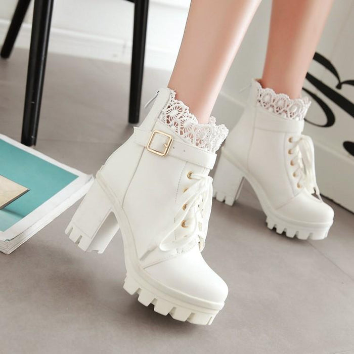 Black/White Lace Buckle High Heel Boots