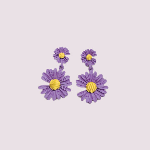 Lavender Silver 925 Needle Sunflower Aesthetic Ear Drop