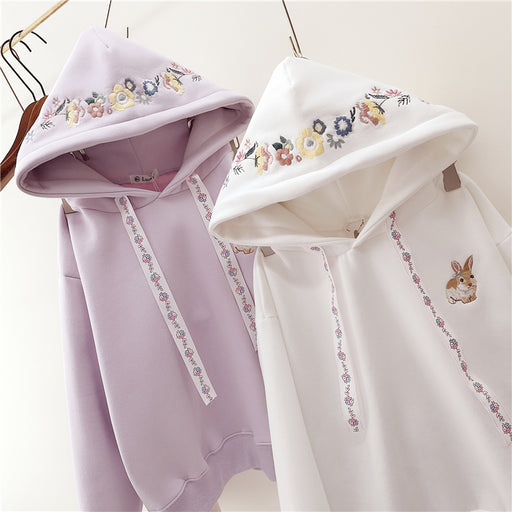 Mini Pink Neko Kawaii Mow Bunny Rabbit Hoodie