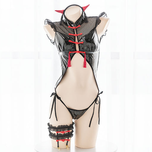 Japanese Sexy Button Up Leather Bondage Bodysuit