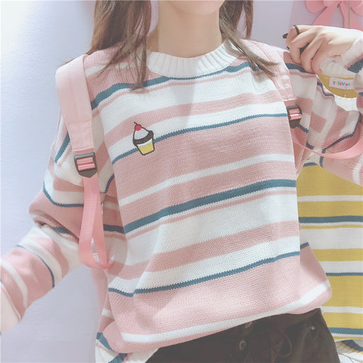 Pastel Kawaii Ice Cream Aesthetic Stripped Rainbow Sweater