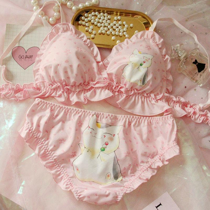 Pink Cartoon Pastel Lover Cute Sweetie Baby Bralette Set
