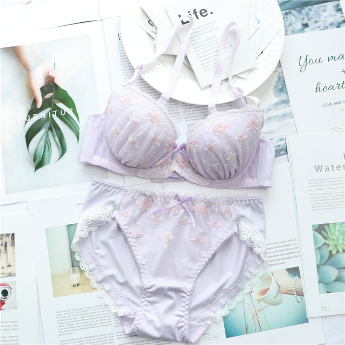 Pastel Pink Ruffle Lace Girly Dot Flower Sweetie Heart Bra Set