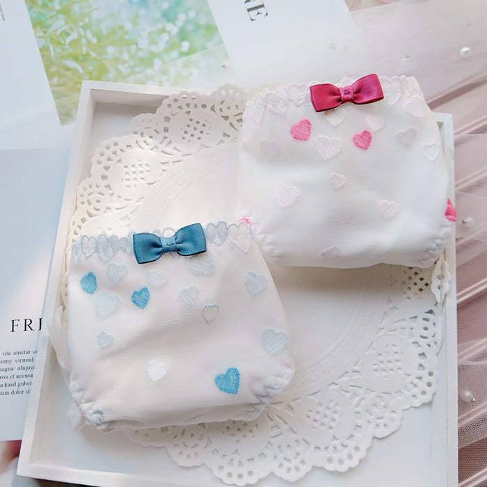 3pcs-Kawaii Love Sweet White Kiss Me Panty