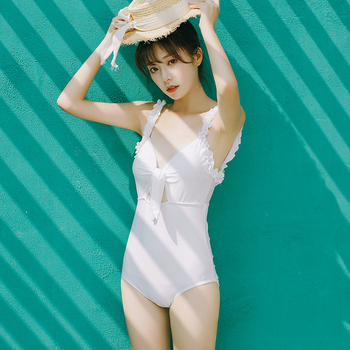 Ruffle Sweet Bow Tie One Piece Bathsuit