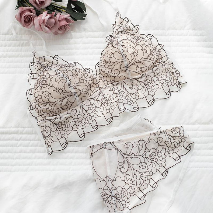 bralette French lace ins wind no steel ring beautiful back bra set
