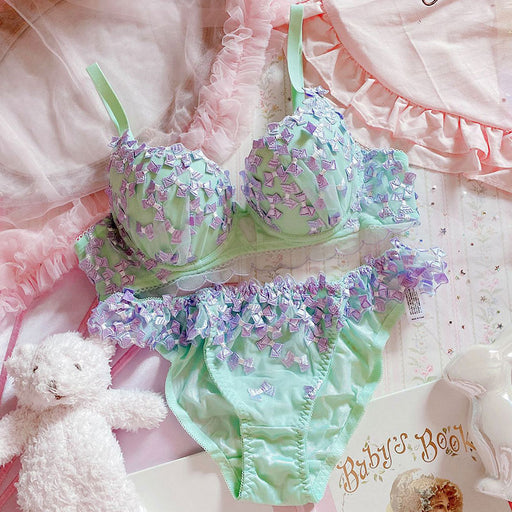 Japanese embroidered bowknot mesh bra set with steel ring