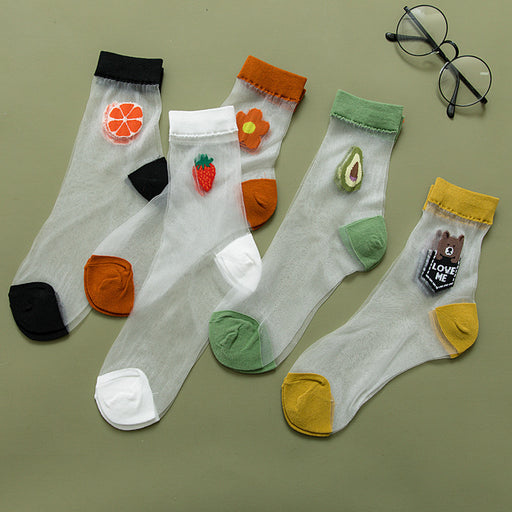 Kawaii Japanese Lace Lolita Fruits Socks - 5 Pairs Set