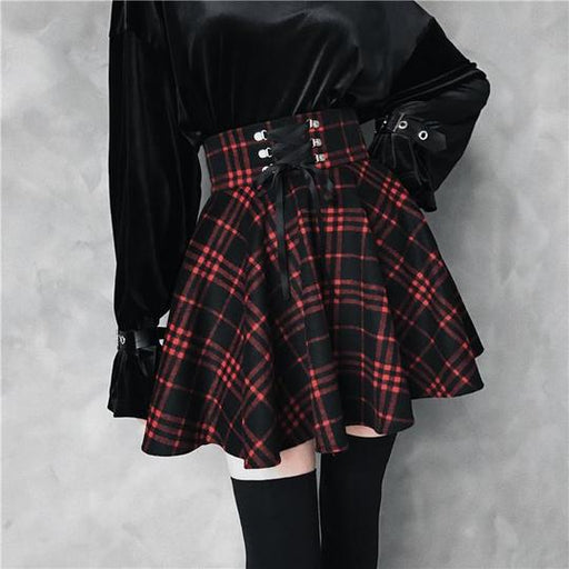 Black red plaid ribbon skirt
