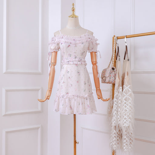 Korean Fairy Flower Petite Girl Lace Sheer Dress