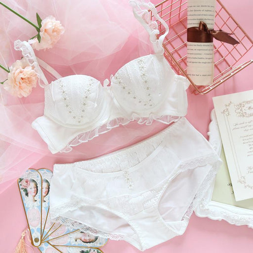 Japanese girl sweet and cute little daisy lace mesh gauze edge no steel ring micro gather bra set