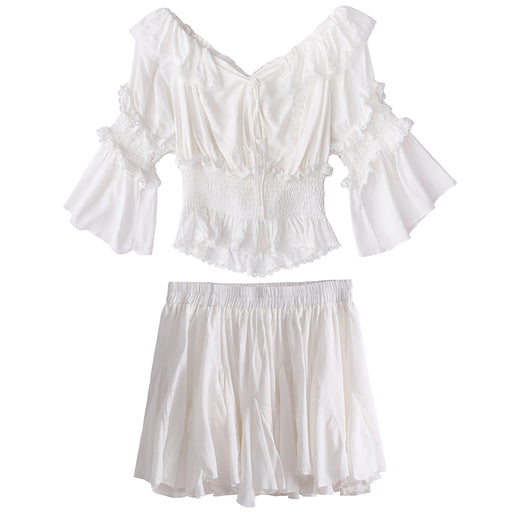 Pure White Ruffle Kawaii Top Skirt Set