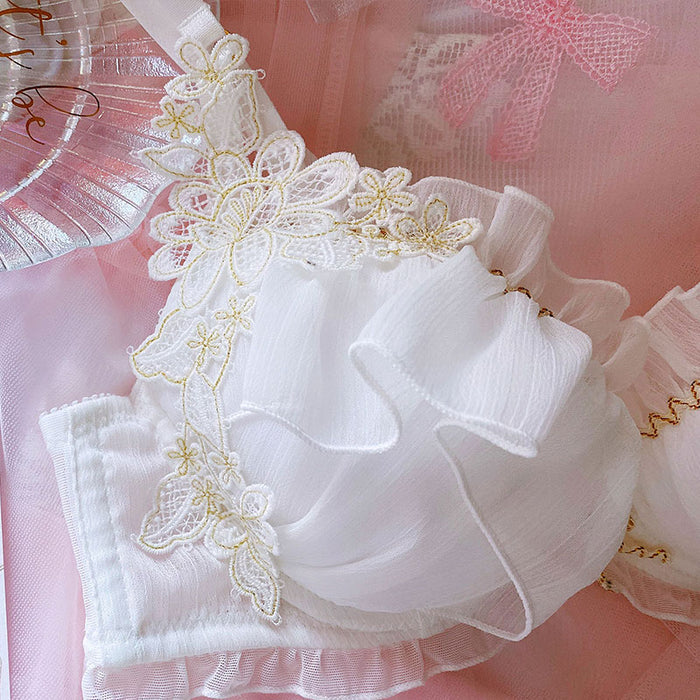Japanese girly golden silk flower lace thin white underwire bra set