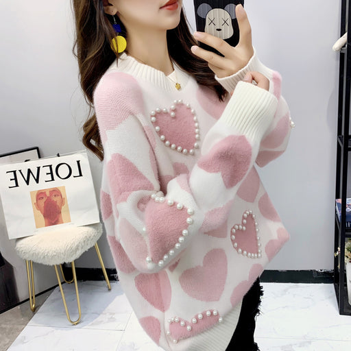 Pastel Kawaii Pearl Heart Aesthetic Stripped Rainbow Sweater