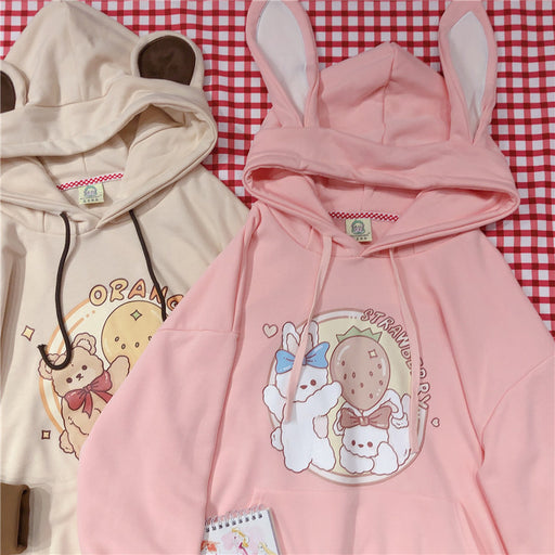 Japanese soft girl cartoon pink sweater