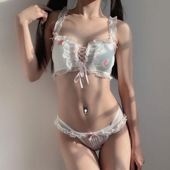 Peachy Kawaii Japanese Girl Pastel Lover Cute Sweetie Baby Bralette Set