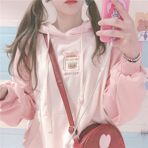 Japanese soft girl cute girl stitching hoodie