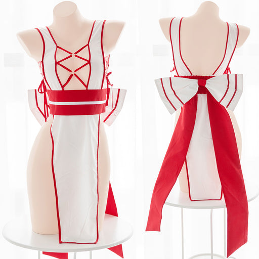 Sofyee  Sexy High-Slit Red And White Yanying One-Piece Hollow Cheongsam