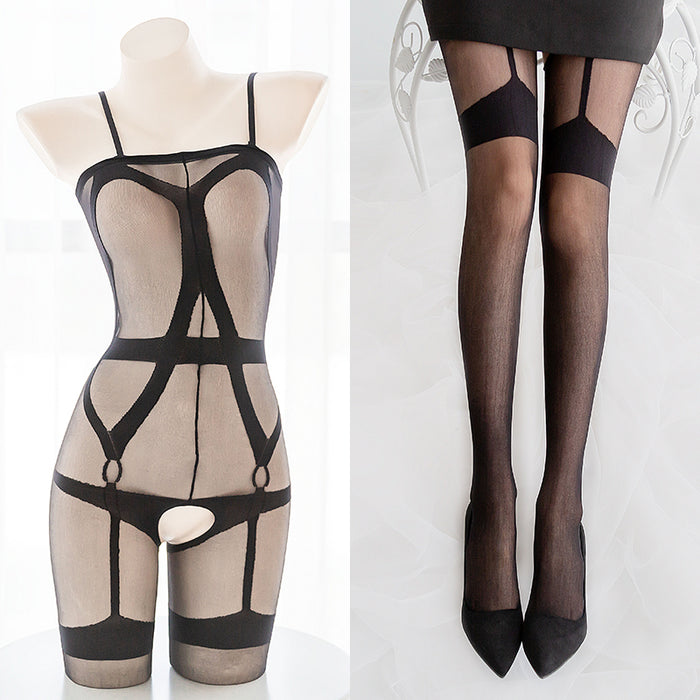 Garter Belts Sexy Black Sheer Seductive Bondage Fishnet Body Stocking