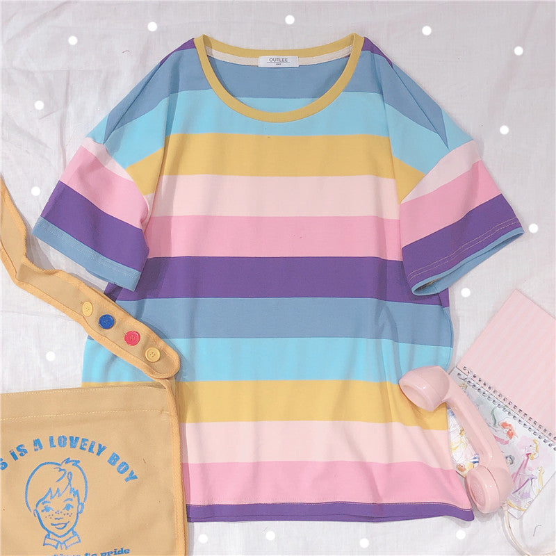 Pastel Kawaii Rainbow In The Mountains Aesthetic Rainbow T-Shirt